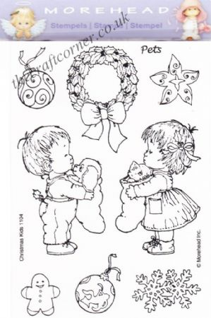 Christmas Children & Pets 9 Clear Rubber Stamp Set From Morehead